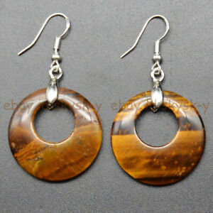 Natural Yellow Tiger's Eye 28mm Hollow Round Ring Dangle Silver Hook Earrings