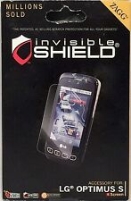 NEW ZAGG invisibleSHIELD Military Grade Phone Screen Protector for LG OPTIMUS S