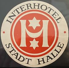 Luggage Label ~ Interhotel Stadt Halle ~ East Germany ~ Jewish Star Design