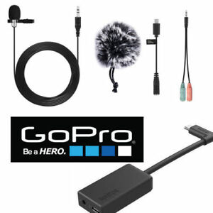 GoPro Pro 3.5mm Mic Adapter FOR GOPRO HERO7 BLACK HD LAVALIER MICROPHONE + W SC