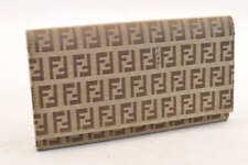 FENDI Zucca Canvas Long Wallet Brown Auth 4713