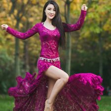 Chic Women's Sexy Full Length Belly Dance Long Sleeve Hollow Lace Dress Costume