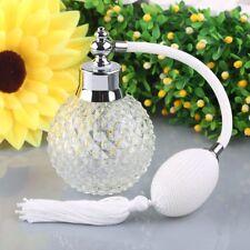 Vintage Crystal Perfume Bottle White Long Spray Atomizer Refillable Glass 100ml
