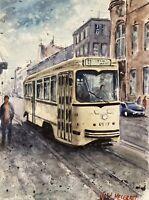 "Original Watercolor Painting  Streetcar, Antwerp 9""x12"""