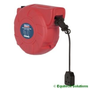 Sealey  CRM151 15m Cable Reel Retractable System 1 x 230V Socket Extension