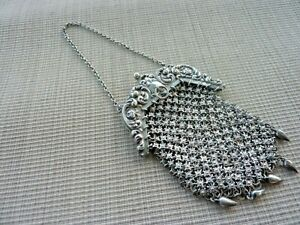Vintage Victorian Sterling Silver Link Purse with Chain for Chatelain (60139)
