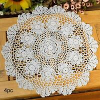 15 Inch Placemats Crochet Doilies Handmade Lace Round Coasters Cotton Pack of 4