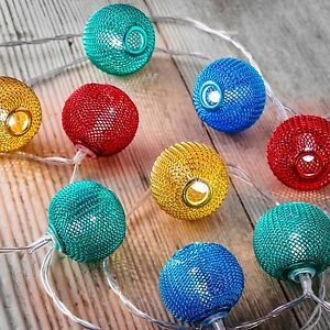 Auraglow 12 Battery Operated 2.5m Indoor String LED Fairy Lights - Mesh Balls