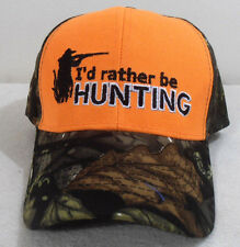 NEW BALL CAP I'D RATHER BE HUNTING HAT  ORANGE & CAMO