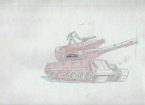 "GI JOE Cartoon 12.5x10.5"" Animation Prod Drawing FN+ 6.5 SC85 P1-26 Tank"
