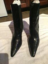 Manolo Blahnik black leather boots.  Women size 38 1/2