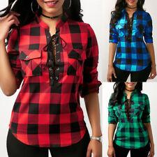 Womens Ladies Casual Long Sleeve Bandage Plaid Check Shirt Tops Blouse Plus Size