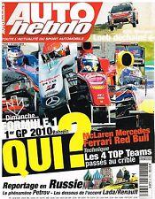 B32- Auto Hebdo N°1743 1er GP 2010 Bahrein,Russie Petrov accord Lada/Renault