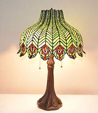"18""W Peacock Stained Glass Handcrafted Jeweled Table Desk Lamp, Zinc Base"