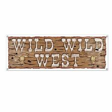 150cm Wild West Sign Banner 5ft Long Bundle X 4 Cowboy Party