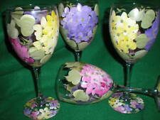 HAND PAINTED PINK PURPLE AND YELLOW HYDRANGEA GOBLETS / SET OF 4- 10 OUNCES EACH