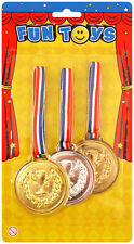Gold Silver Bronze Winner Plastic Medals Prize School Award Sports Day T41 029