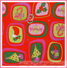 BonEful Fabric FQ Flannel Xmas Tree Holiday Retro Bow Red Green Candy Cane Block