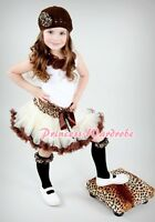 White Tank Top in Rosettes with Animal / Style Print Pettiskirt Set 4 Girl 1-8Y