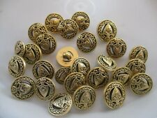 27 BLACK & GOLD COLOR with DESIGN 9/16, 11/16 & 13/16 INCH SHANK BUTTONS, NEW
