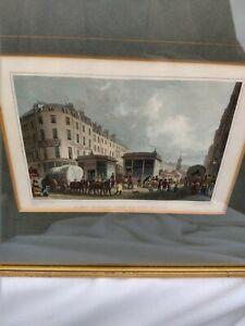 2 Antique London Prints Coloured Framed