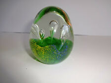 Vintage Glass Paperweight Art Egg Oval Bubbles Clear Green Blue Yellow Orange 3""