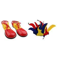 Adult Kids Clown Jester Joker Hat +Clown Shoe Covers Fancy Dress Costume
