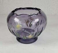 "FENTON ART GLASS AMETYHST ROSE BOWL HANDPAINTED AND SIGNED ""God's Light..."""