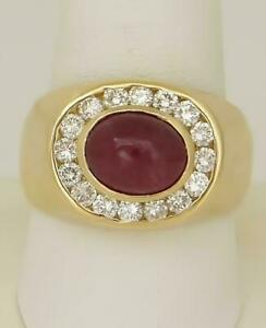 1.00 Ct Oval Cut Ruby & Diamond Men's Engagement RIng 14k Yellow Gold Finish