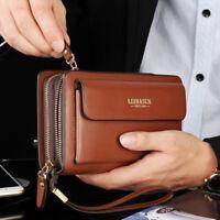 Men Business Leather Long Wallet Double Zipper Card Holder Clutch Bag Phone Case