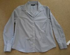 Size 16 Jeager Women's Long Sleeve Blouse Shirt Blue & White Fine Stripes BNWT
