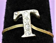 Tiny Finger Girls Letter T Four Crystals Silver 925 Stretch Ring Size US 4-5