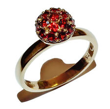 Fully Hallmarked 9ct Yellow Gold & Garnet Fancy Cluster Dress Ring - UK Size: N