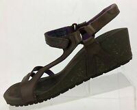 Teva Cabrillo Wedge Sandals Brown Leather Casual Open Toe Comfort Womens Sz 9.5