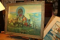 Antique Gilded Framed Print Luke Doheny Wagon Trains West Pioneers 16x20