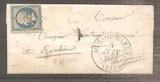 LETTRE FRANCE FRANKREICH 1854 N°15 OBLITERE USED CACHET DATE TYPE 13