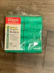 """BRAND NEW ANNIE #1222 GREEN 10ct LARGE SNAP ON MAGNETIC ROLLERS 7/8"""" DIAMETER"""