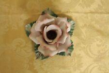 Beautiful Vintage Capodimonte (Capo-di-Monte) Porcelain Rose Candlestick