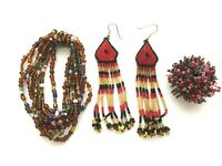Lot 4 hand beaded jewelry pieces ring pair of earrings bracelet red colors