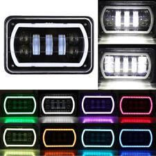 "4x6"" RGB Halo LED Headlight Reflector Sealed Hi-Lo Beam DRL For Jeep Trucks 4X4"
