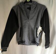 NEW Kids Grey Fleece Lined Black Long Sleeve Faux Leather Hoodie Size Medium