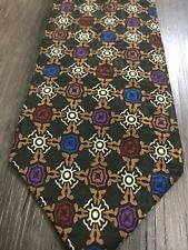 "Christian Dior Monsieur Green Orange Silk Pattern Men's Tie EUC 56"" Neckwear"