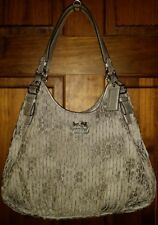 Coach 18886 Madison Gathered Maggie Silver/Gray Sateen Leather Shoulder Bag