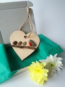 Wooden Heart Decorations - Robin Family