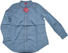 Together Women's Chambray Blue Cotton Lace Openwork Detail Shirt - 12