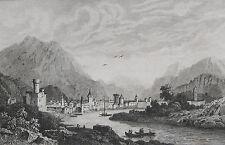 Vista di Trento Trentino Alto Adige Tirolo originale-Vista da 1838 trènt Trentino