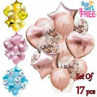 17pcs/set Birthday Wedding Balloons Latex Foil Ballons Kids Boy Girl Baby Party