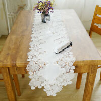 Floral Embroidery Party Home Lace Table Runner Wedding Banquet Decor Piano Cover