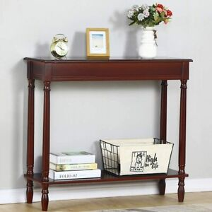 Console Table Wood, Narrow Sofa Table, Retro Entryway Table with Storage Shelf