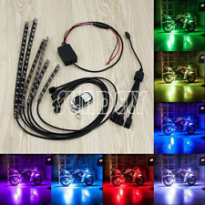 6PC Car Motorcycle ATV Strip RGB LED Remote Under Glow Neo Multi Color Light Kit